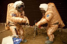 Crew training for 'Marswalk' at the simulated martian terrain of the Mars500 experiment.