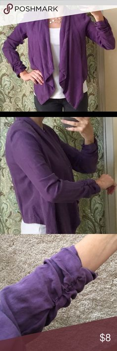 Unstructured Love 21 Purple Jacket Cinched sleeves, tapered in the front, open front. love 21 Jackets & Coats