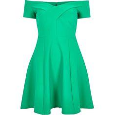 River Island Green scuba bardot skater dress ($80) ❤ liked on Polyvore featuring dresses, green, skater dresses, women, flared dress, zipper dress, green skater skirt, skater dress i circle skirt