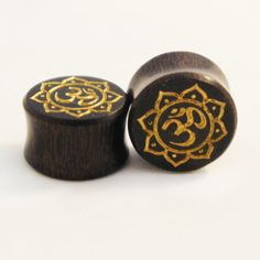 """Sono Wood Ohm Symbol With Floral Outline Double Flare Plugs 8mm (0G) to 20mm 13/16"""" #ohm #doubleflaredplugs #plugs #floral"""