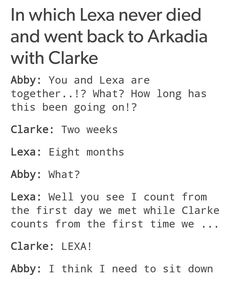 NAH I THINK ABBY WOULDN'T EVEN CARE ABOUT WHO CLARKE HAS A RELATIONSHIP WITH