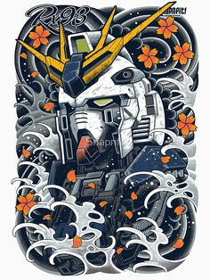 'Nu Gundam Awesome' Poster by Snapnfit Japanese Tattoo Art, Japanese Tattoo Designs, Japanese Art, Arte Gundam, Gundam Art, Gundam Head, Gundam Wing, Anime Kunst, Anime Art