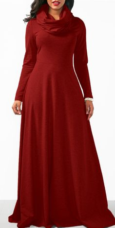 Long Sleeve Wine Red Cowl Neck Maxi Dress.