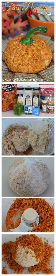 Pumpkin Cheese Ball Recipe with Doritos Crust on Frugal Coupon Living - Fall Cheeseball Recipe.