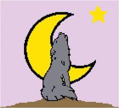 Crochet Pattern Chart Blanket Wolf Moon Howling by APieceOfCrochet