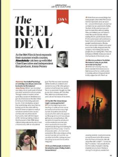 Jonny Persey (Director of Met Film School) was recently interviewed in 'Absolutely Chiswick' magazine, published May 2014