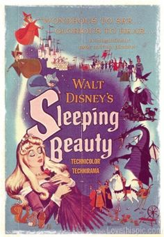 Sleeping Beauty - this is my fall time favorite Disney movie. The colors, the battle scene between the Prince and the wicked witch/dragon - Disney pulled no punches with that good vs. Malificent is my favorite Disney villain too. Walt Disney, Disney Pixar, Disney Villains, Disney Animation, Disney Films, Disney Magic, Disney Art, Vintage Disney Posters, Disney Movie Posters
