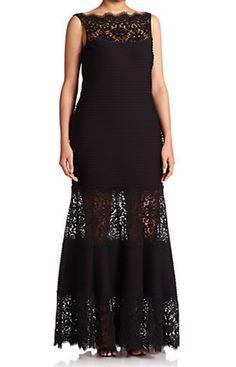 Tadashi Plus Size Black Gown