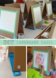 Make this easy DIY cardboard easel for your little artists.