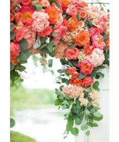 Vibrant Coral, Orange and Pink Wedding ~ we ♥ this! moncheribridals.com #weddingflowers