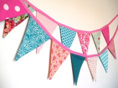 Pink Fabric Banner Bunting Garland Pink  Hot by TheOldPinkPorch, $28.50