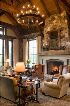 Find home décor inspiration at Architectural Digest. Everything you'll need to design each and every room in your house, from the kitchen to the master suite. House Design, Cozy Fireplace, Home, Ranch House, Rustic Living Room Design, House Interior, Country Decor Rustic, Living Room Leather, Rustic House