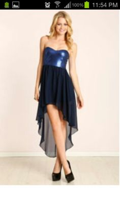 Sequined blue high low dress