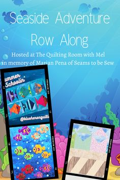 Come get the next three quilt block in the seaside row along. Quilting 101, Quilting Room, Quilting For Beginners, Projects For Kids, Sewing Projects, Craft Projects, Farm Animal Quilt, Scrap Busters, One Fish