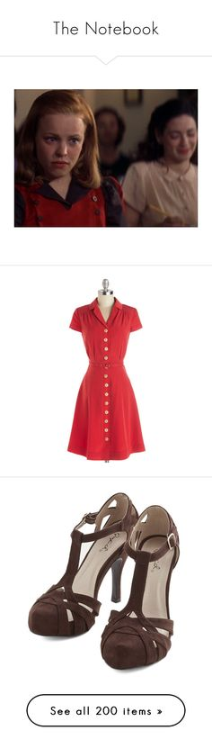 """""""The Notebook"""" by priscilla12 ❤ liked on Polyvore featuring dresses, modcloth, red, short dresses, vestidos, apparel, classic dress, red silk dress, short sleeve mini dress and red shirt dress"""
