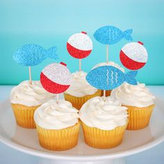 Fishing Party Cupcake Toppers The Big One Toppers First Birthday Cupcake Toppers Fishing Birthday Decorations Big One Fishing Theme by PGPaperDesign on Etsy https://www.etsy.com/listing/521586909/fishing-party-cupcake-toppers-the-big