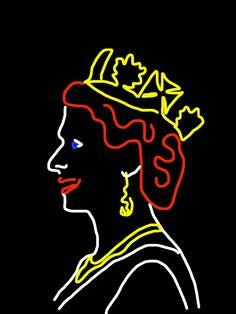 "Danny Mooney 'Proposal for a neon sculpture of Queen Elizabeth II - Profile"" iPad drawing"