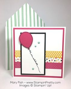 Balloon Celebration stamp set and Balloon Bouquet Punch help produce this birthday card in a snap.  Created by Mary Fish, Independent Stampin' Up! Demonstrator.  Details, supply list and more card ideas on http://stampinpretty.com/2016/01/its-my-party-washi-tape-birthday-card.html