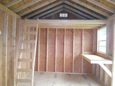 shed - would love a small loft for extra storage.make a desk go along the wall under the loft (u shape).that way a window will be above desk area for extra light