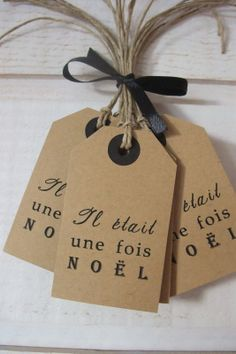 """Etiquette Tag """"il était une fois Noël"""" - carte postale et autre cartes - KB Créations - Fait Maison"""