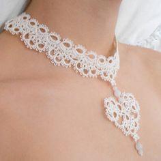 Herzen Spitze Choker Halskette tatted Elfenbein von SILHUETTE