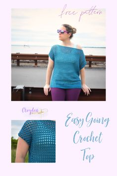 The Easy Going Crochet Top is a relaxed off-the-shoulder top that is perfect for the summer months. A great beginner pattern featuring a gorgeous cluster mesh stitch. Modern Crochet, Cute Crochet, Crochet Motif, Crochet Yarn, Crochet Home, Crochet Summer, Freeform Crochet, Easy Crochet Patterns, Crochet Designs