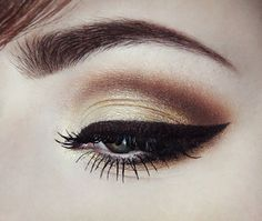 Gold Dust by Nicole F. - gold eyeshadow, with a brown cut-crease and black eyeliner.