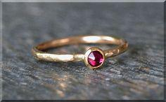 14k Gold Filled Swarovski Ruby Ring July by thewrappedpixie