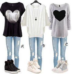 Light Grey Heart Print Long Sleeve Cotton T-Shirt - T-Shirts - Tops