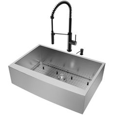 Buy the Vigo Stainless Steel Direct. Shop for the Vigo Stainless Steel Single Basin Farmhouse Apron Front Kitchen Sink with Dresden Chrome Finish Faucet, Soap Dispenser, Basin Rack, Basket Strainer, and Cutting Board and save. Apron Front Kitchen Sink, Double Bowl Kitchen Sink, Farmhouse Sink Kitchen, Modern Kitchen Cabinets, Kitchen Sinks, Basin Design, Farmhouse Aprons, Sink Accessories, Thing 1