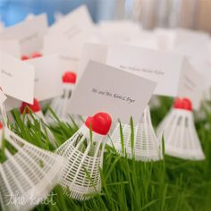 Maybe not for everyone, but cute idea if you're a big badminton fan! Wedding Crafts, Diy Wedding, Wedding Decorations, Table Decorations, Wedding Ideas, Badminton, Seating Chart Wedding, Lets Celebrate, Real Weddings