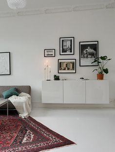 Wallhung sideboard in the living room.