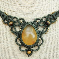 Macrame Necklace Pendant Sumatra Amber Stone Quartz Waxed Cord Handmade Cabochon in Jewelry & Watches, Handcrafted, Artisan Jewelry, Necklaces & Pendants | eBay