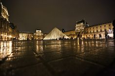 The Louvre at Night in Paris, France