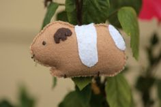 Cute Felt Guinea Pig Ornament by cockTHEshutter on Etsy