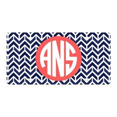 Preppy Monogram License Tag
