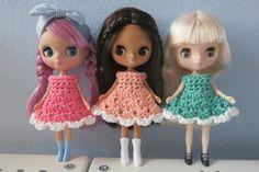 3 Pack Of Crochet Cupcake Petite Blythe Dresses  by bearlydressed, $15.00