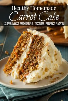 """This healthy homemde carrot cake recipe is very moist, has a wonderful texture, with a perfect flavor. Top it with this thick and creamy dairy-free cream """"cheese"""" frosting recipe for an extra spectacular spring dessert. Bakerette.com   vegan, dairy-free"""