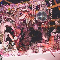New York's Hottest Tropical Bars: 2018 Edition Disco Party Decorations, Wedding Aisle Decorations, Dj Booth, Wedding Pinterest, Alternative Wedding, Animal Party, Fall Wedding, Wedding Reception, Wedding Styles
