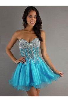 A-line Sweetheart Sleeveless Short/Mini Organza Homecoming Dresses/Short Prom Dress #WX764