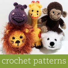 My Amigurumi Patterns:  5 CROCHET PATTERN SET - Amigurumi Zoo Animals - Hippo, Giraffe, Lion, Monkey, Polar Bear. $15.00, via Etsy.