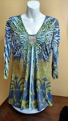 Dorothy Perkins Sample Blue Print Stretch Jersey Lace Detail Cami Top Size 12