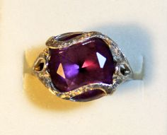 Vintage 10k Hammered Silver & Amethyst Glass Stone Ring - Size 6 #Unbranded #Cocktail