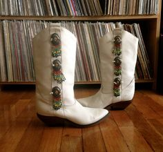Vintage Womens ZODIAC Beaded White Leather by PlainspeakVintage, $68.00