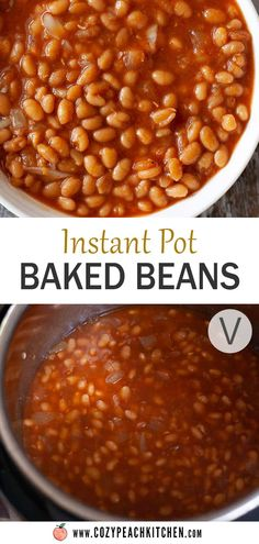 These vegetarian baked beans are easy to make in your Instant Pot or pressure cooker in just about an hour- no overnight soaking required! All you need is your favorite barbecue sauce, onions, and garlic. The perfect easy side dish! Vegetarian Baked Beans, Vegetarian Comfort Food, Easy Vegetarian Lunch, Easy Bean Recipes, Vegan Recipes Easy, Vegetarian Recipes, Pressure Cooker Baked Beans, Easy Pressure Cooker Recipes, Peach Kitchen