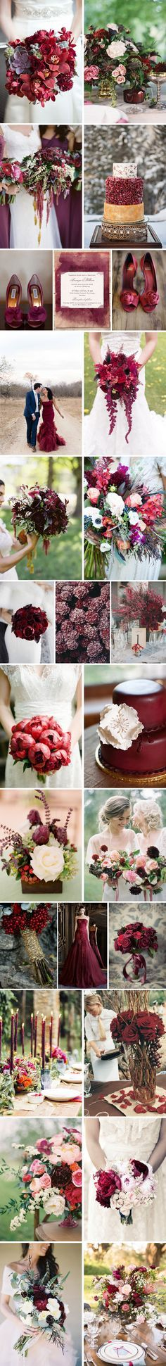 Deep reds are beautiful for fall weddings. I love the idea of a dark red wedding gown rather than white/ ivory. Unique and gorgeous!