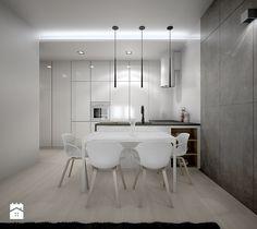 Mieszkanie w bieli - Mały salon z kuchnią z jadalnią, styl nowoczesny - zdjęcie od TK Architekci