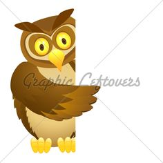 Vector Illustration Of Owl Cartoon With Blank Sign