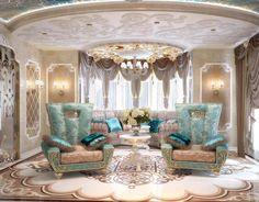 Extraordinary #WhiteandGold Luxury Regal Living Room Interior Design