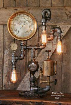 Steampunk Industrial Lamp, Steam Gauge and Oiler Gear #1204